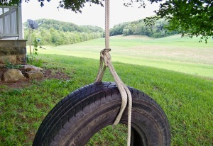 A tire swing in a yard is a beautiful thing, giving you a bird's eye view of the sky and, even better if it leads to a lake or river.