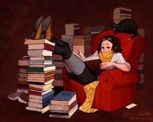 """This is cozy.  A bookshelf would be """"cold"""" and uninviting."""
